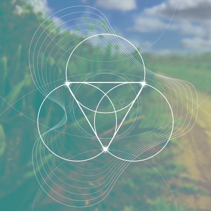 Kwiat życie - łączyć okrąża antycznego symbol przed zamazanym photorealistic natury tłem święty royalty ilustracja