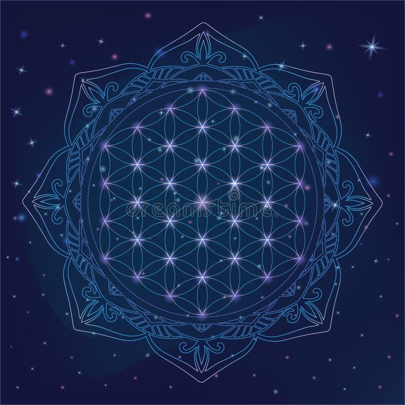 Kwiat życie, święci geometria symbole i elementy dla alchemii, duchowość, religia, filozofia, astrologia logo Błyszcząca mistyczk ilustracji