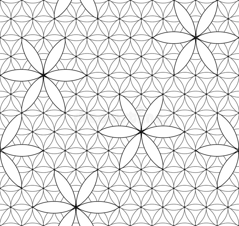 Kwiat życie geometria święta bezszwowy wzoru royalty ilustracja