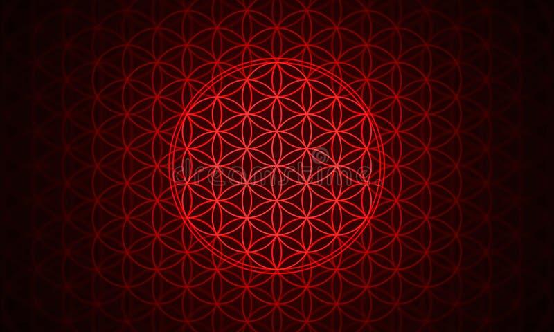 Kwiat życie symbolu czerwień ilustracja wektor