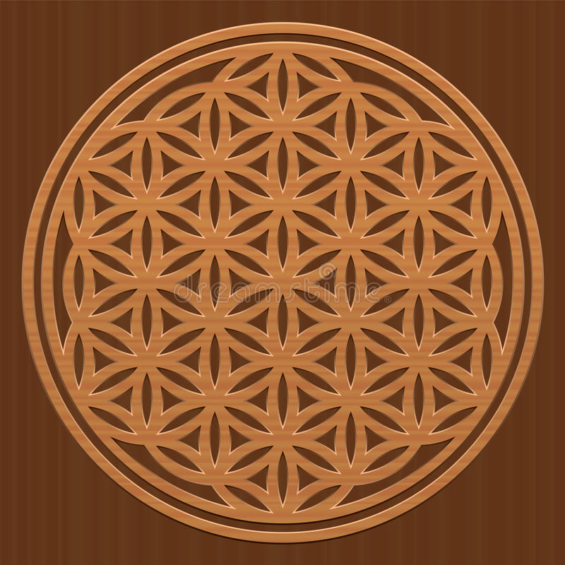 Kwiat życie tekstury Drewniany cyzelowanie royalty ilustracja