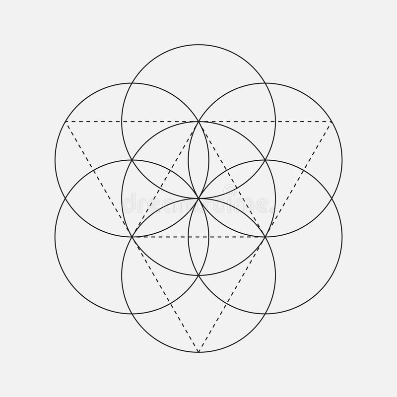 Kwiat życie znak Geometryczny symbol ilustracji