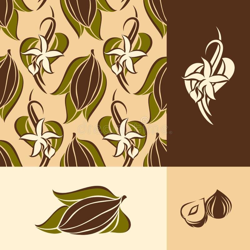 kwiat bobowa kakaowa ilustracja opuszczać strąków wanilii wektor royalty ilustracja