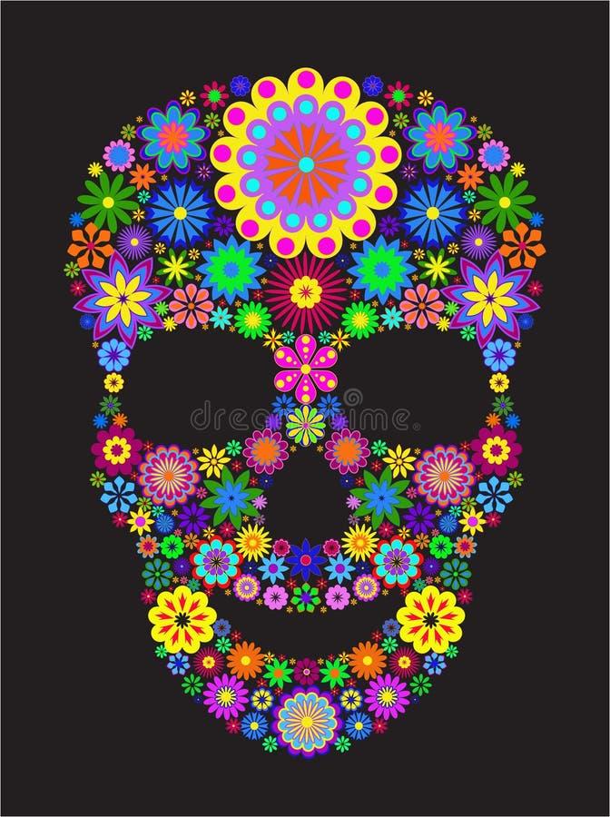 kwiat czaszka royalty ilustracja