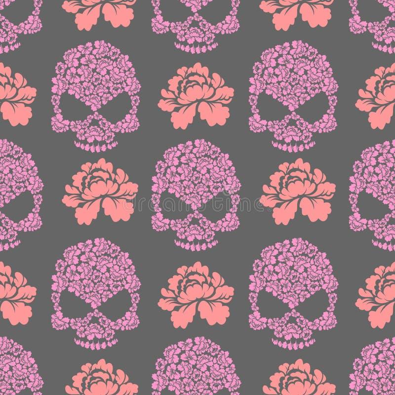 Kwiat czaszki bezszwowy pttern Czaszka menchii róże i kwiaty ilustracji