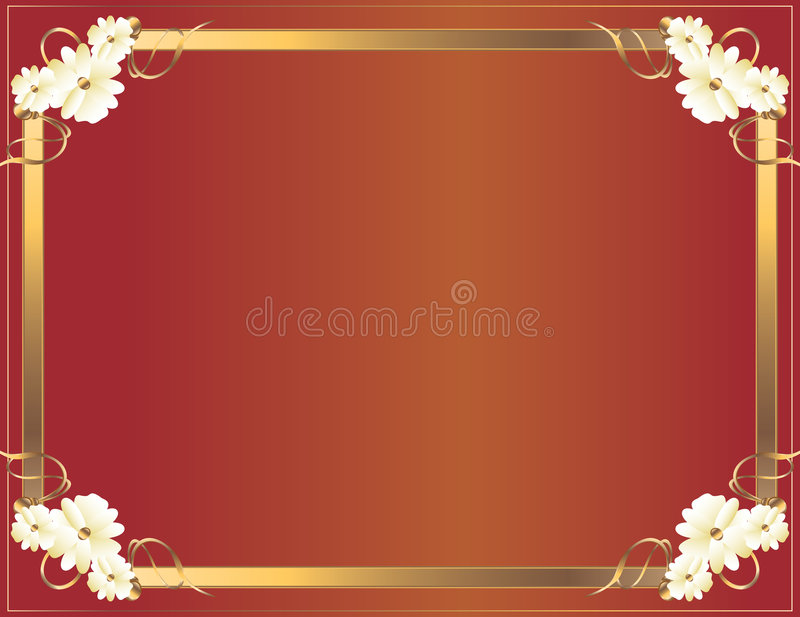 kwiat czerwień ramowa złocista ilustracja wektor