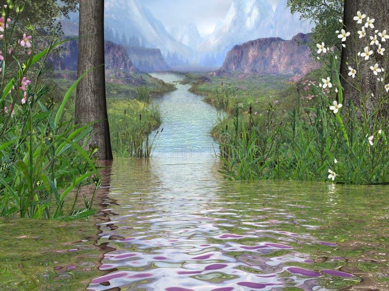 kwiat dale rzeki ilustracja wektor