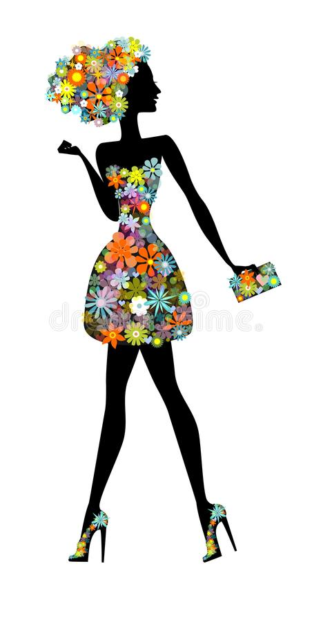 Kwiat dziewczyna - piękna kobieta z pachnidłem royalty ilustracja