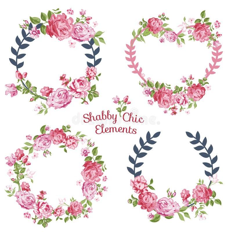 Kwiat etykietki i sztandary royalty ilustracja