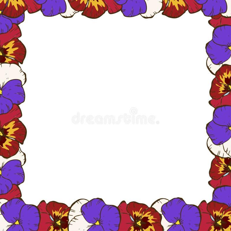 kwiat fractal ramy ilustracja Piękna rama kolorowi pansies Gotowy szablon dla twój projekta, wektorowa ilustracja zdjęcia stock