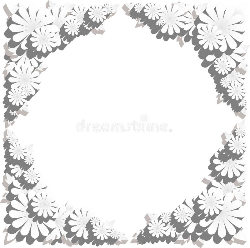 Kwiat granica w embossed skutku zdjęcia royalty free