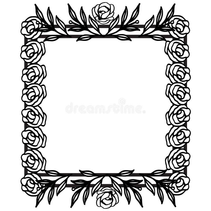 Kwiat granicy ramy szablon z dekorującym kątem dato che projekt karta, zaproszenie karta, kartka z pozdrowieniami wektor royalty ilustracja
