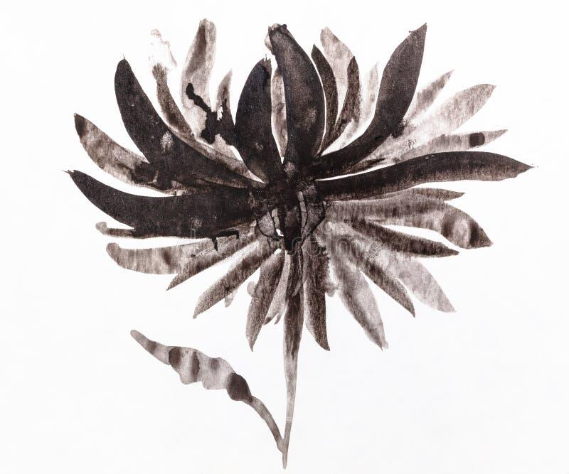 Kwiat handpainted czarnymi akwarelami na papierze royalty ilustracja