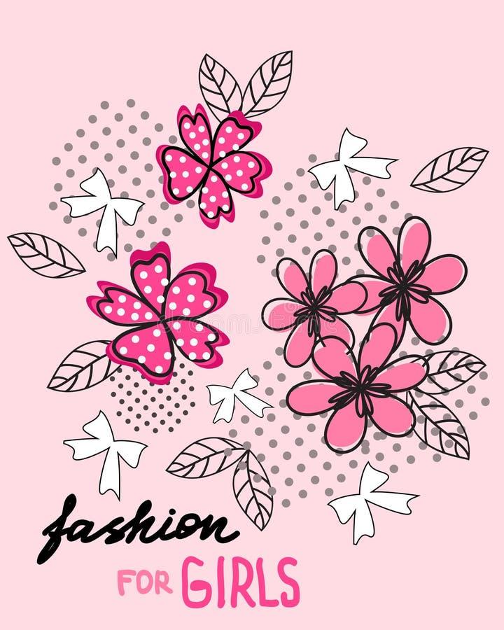 Kwiat i łęk tła czerń zakończenia projekta jajko smażył niecki koszula t Moda dla dziewczyn ilustracja wektor