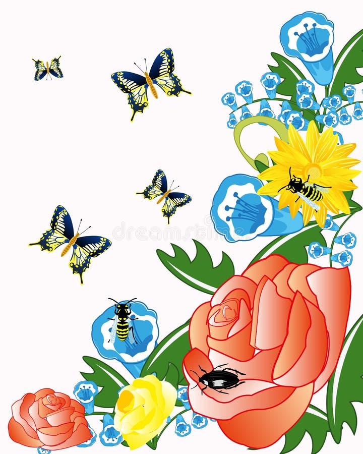 Kwiat i insekt royalty ilustracja