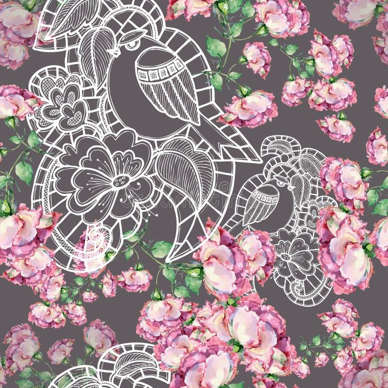 Kwiat i ptak, akwarela, handmade ilustracji