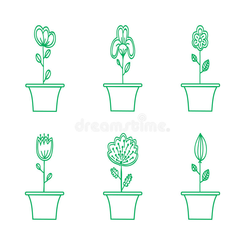 Kwiat ikona Ustawiająca w Modnym mieszkanie stylu royalty ilustracja