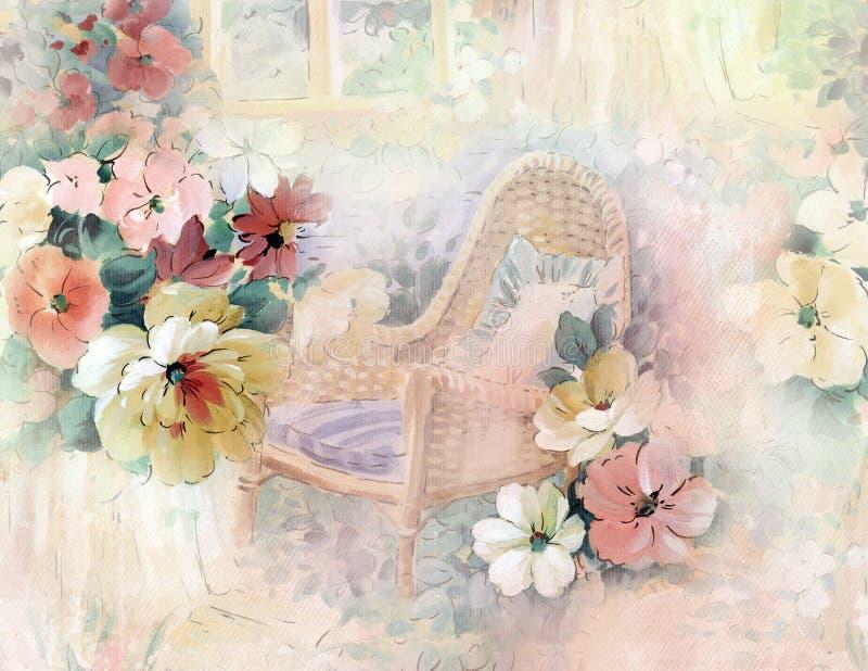 kwiat ilustraci wzór w prostym tle fotografia stock