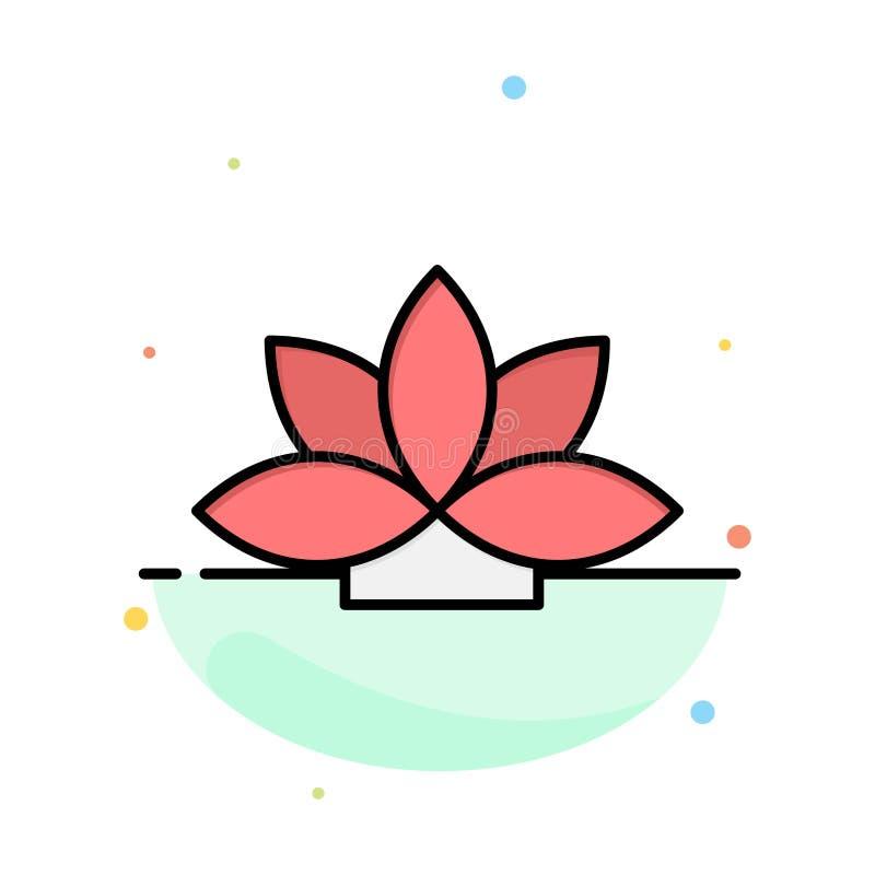 Kwiat, India, Lotus, roślina koloru ikony Abstrakcjonistyczny Płaski szablon ilustracja wektor