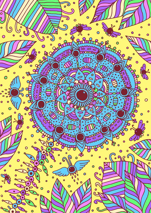 Kwiat, liście, komarnicy i niebo, - fantastyczny psychodeliczny tło w żółtych i błękita kolorach szczotkarski węgiel drzewny rysu ilustracja wektor