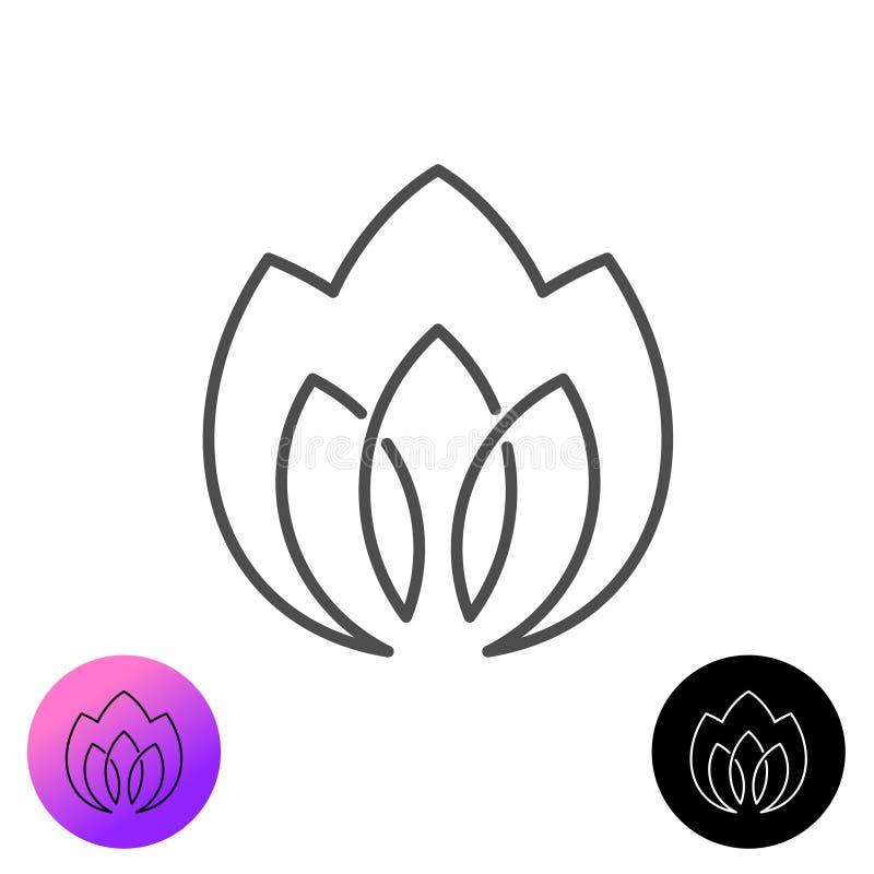 Kwiat lub logo elegancji roślin w stylu linii Trójliściowy znak konturu ilustracja wektor