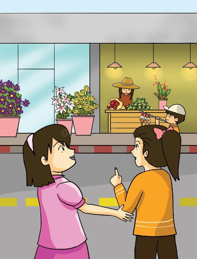 Kwiat małe dziewczynki i sklepy ilustracja wektor