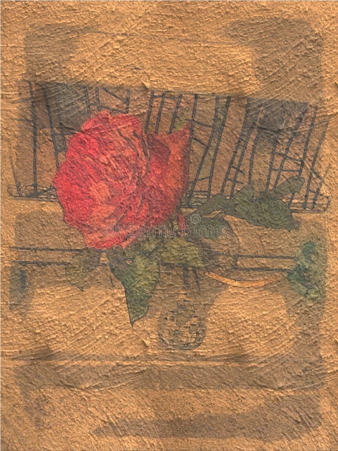 Kwiat malujący w złocistym tasiemkowym prezencie zdjęcia royalty free