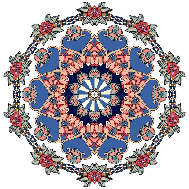 Kwiat - mandala na białym tle Język arabski, hindus, tureccy, chińscy motywy, royalty ilustracja