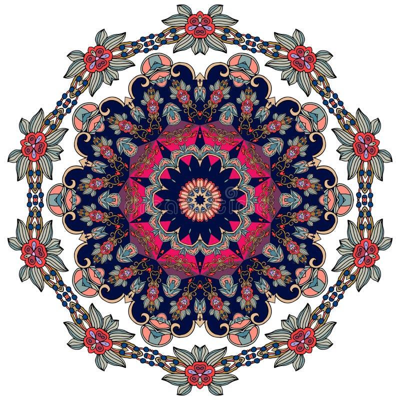 Kwiat - mandala na białym tle Język arabski, hindus, turecki, Pakistan, chińczyk, motywy ilustracja wektor