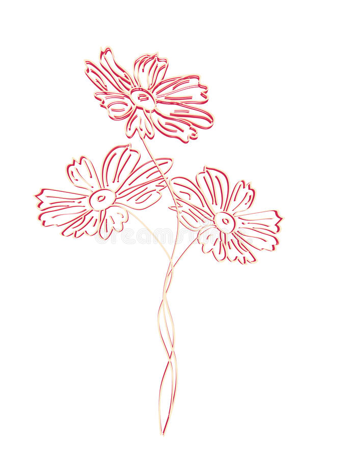 Kwiat menchii odcień embossed ilustracja wektor