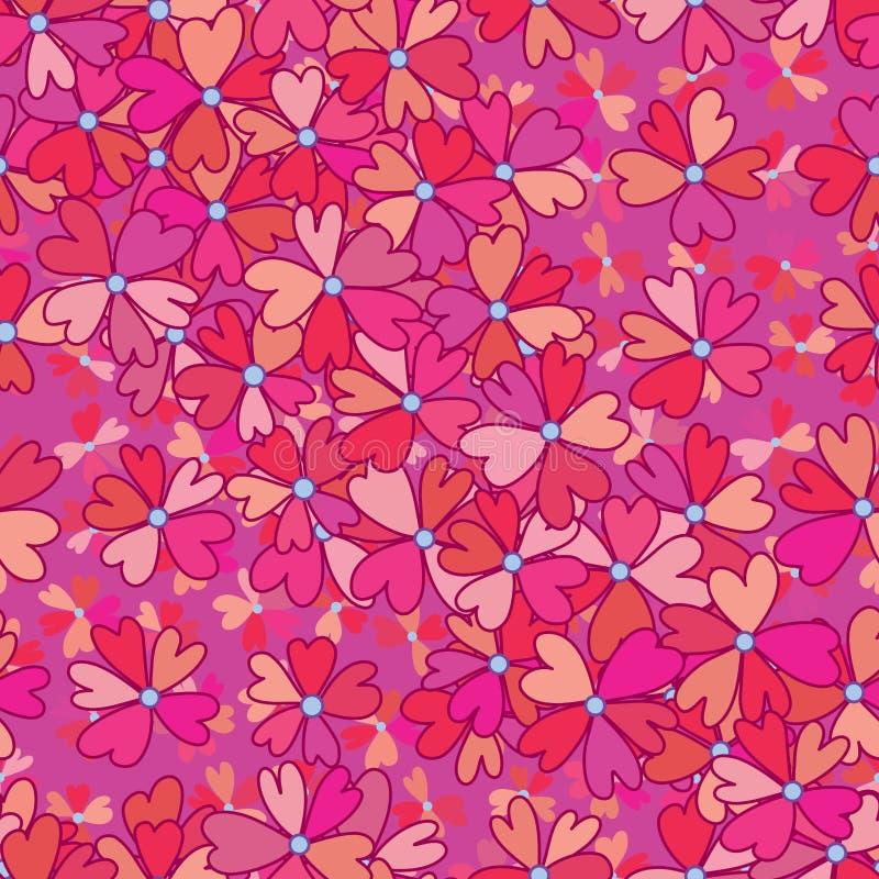 Kwiat miłości płatka rysunku menchii bezszwowy wzór royalty ilustracja