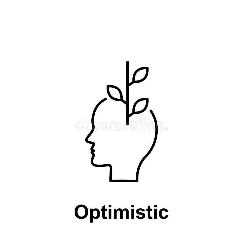 Kwiat, optymistycznie, kierownicza ikona, Element kreatywnie thinkin ikony witn imię Cienka kreskowa ikona dla strona internetowa royalty ilustracja