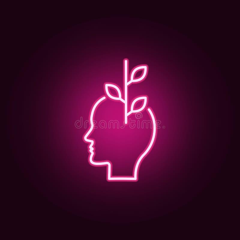 Kwiat, optymistycznie, kierownicza neonowa ikona, Elementy Kreatywnie główkowania set Prosta ikona dla stron internetowych, sieć  ilustracja wektor