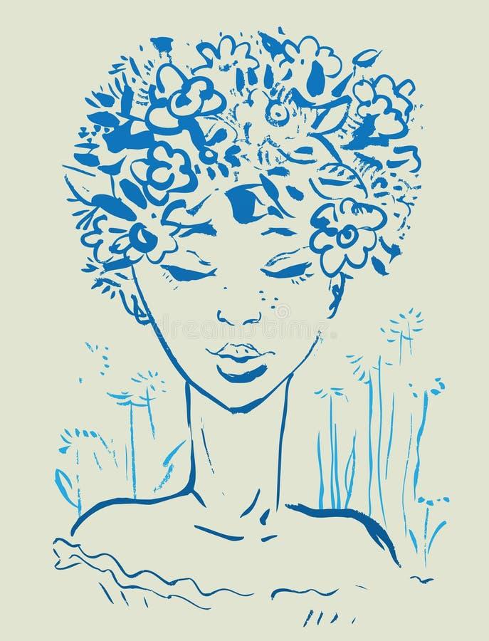 kwiat piękna dziewczyna royalty ilustracja