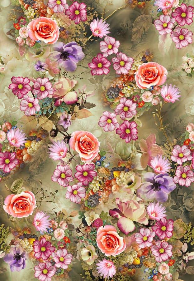 Kwiat po całym koloru wzoru wizerunku cyfrowe kolorowe grafika śliczne royalty ilustracja