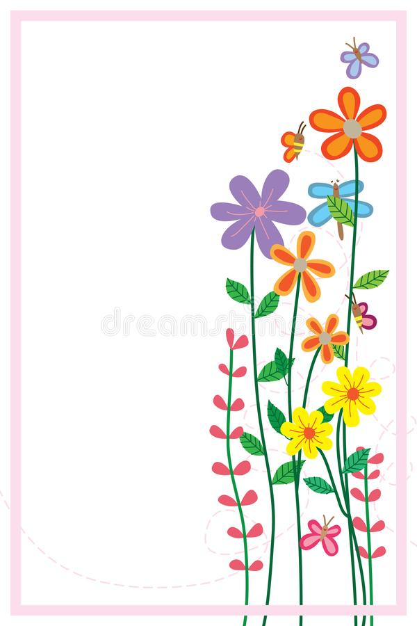 Kwiat pszczoły dragonfly stojaka motylia rama royalty ilustracja