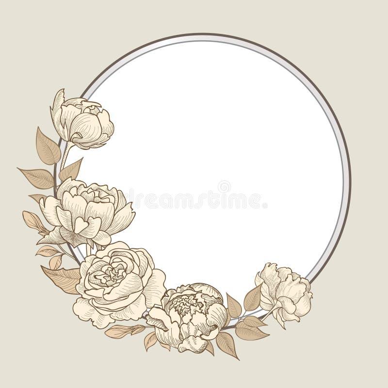 kwiat rama Kwiecista rocznik granica Zawijasa wiktoriański styl ilustracja wektor