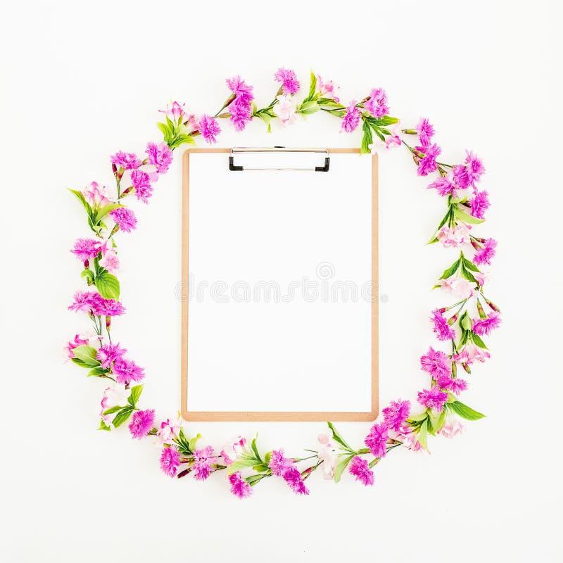 Kwiat rama menchia schowek na białym tle i kwiaty Mieszkanie nieatutowy fotografia stock