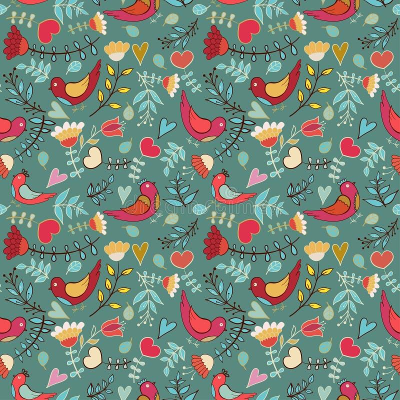 Download Kwiat, Serca, Ptaki Bezszwowi Ilustracja Wektor - Ilustracja złożonej z kwiat, klamerka: 28953308