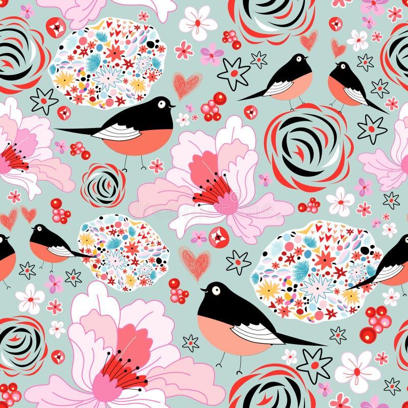 Kwiat tekstura z ptakami w miłości royalty ilustracja