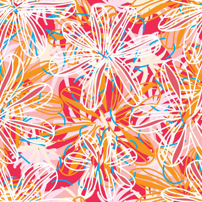 Kwiat tkaniny kreskowego stylu bezszwowy wzór royalty ilustracja