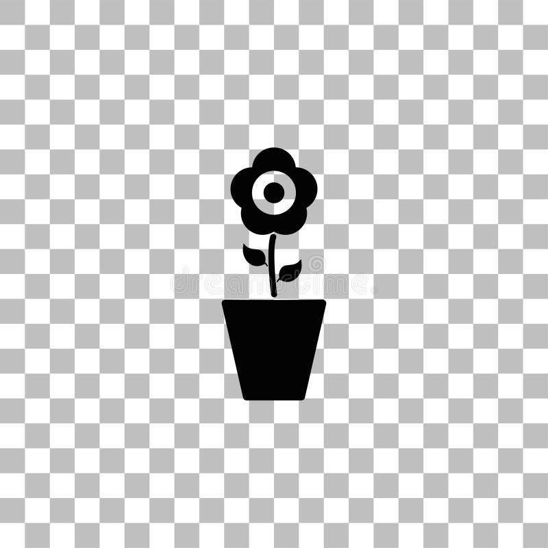 Kwiat w garnek ikony mieszkaniu royalty ilustracja