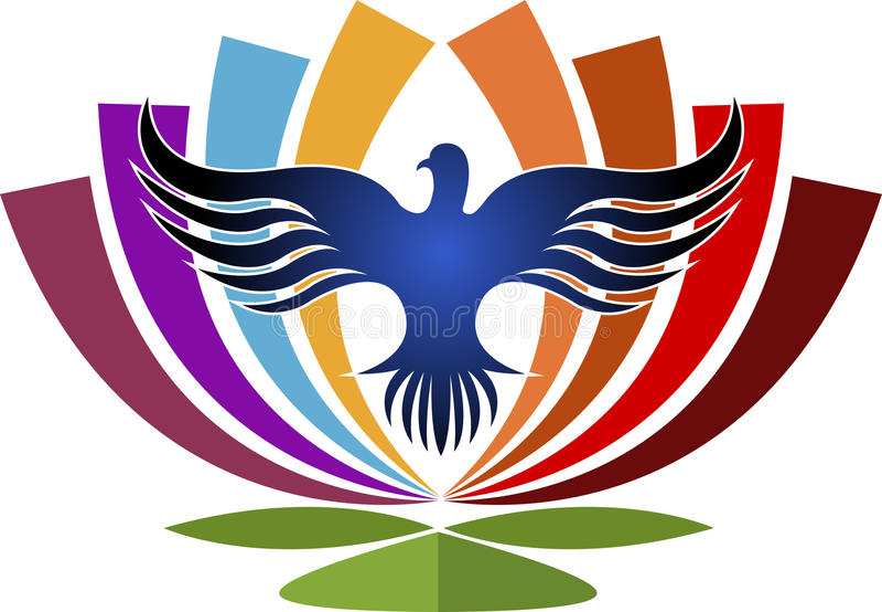 Kwiat w ptaka logu ilustracja wektor