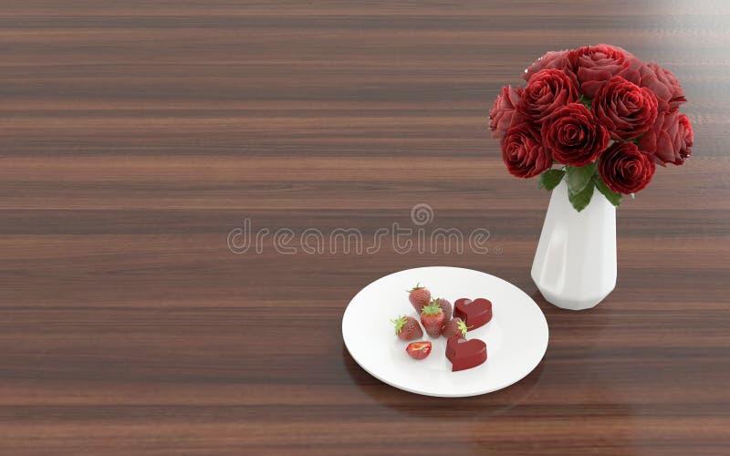 Kwiat w wazie z deserem na talerzu - prawy widok fotografia royalty free