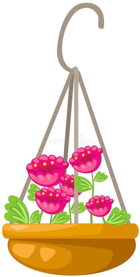 Kwiat w wiszącym garnku ilustracji