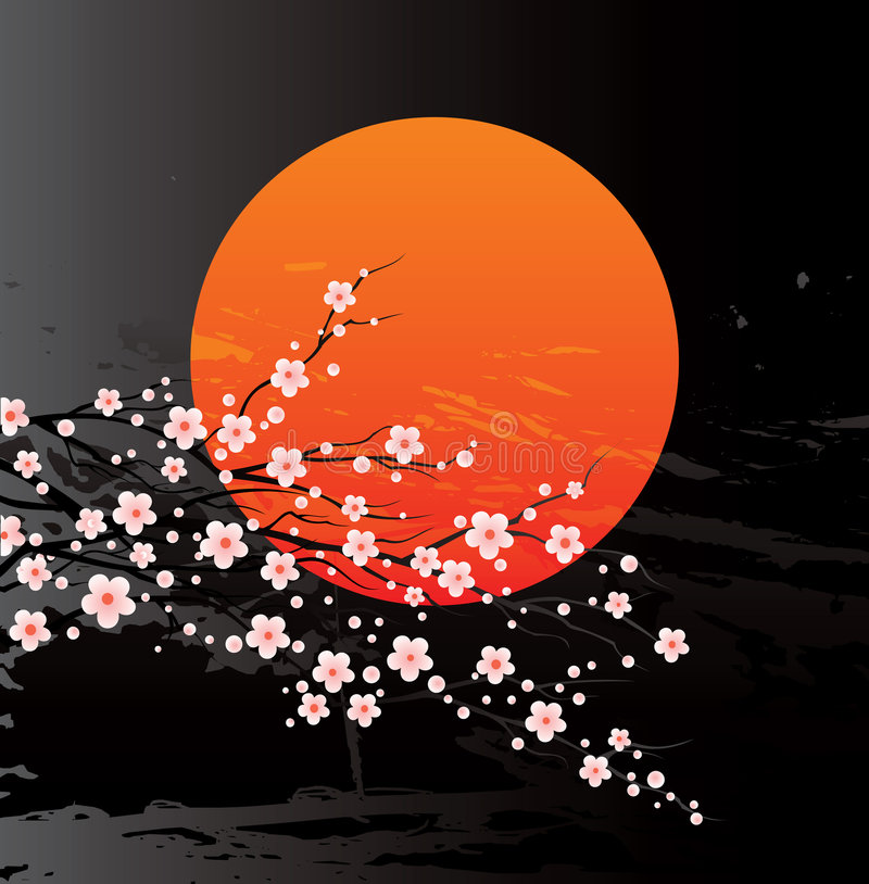 kwiat wiśni gałązki ilustracja wektor