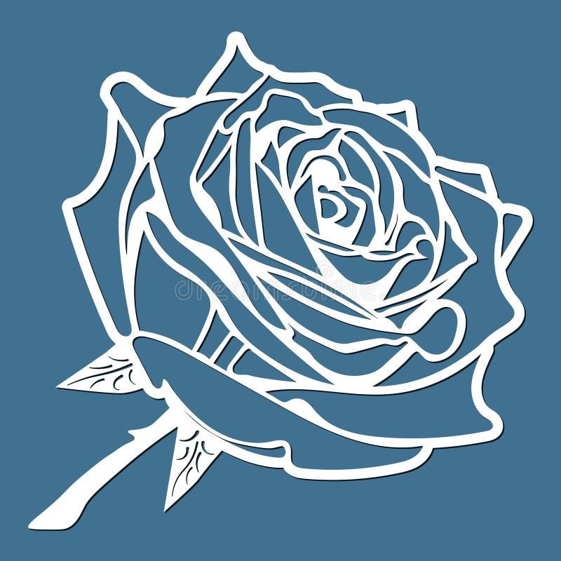 Kwiat wzrastał, laseru rżnięty kwiat, szablon dla ciąć, karcianego projekta element, prezent na walentynka dniu, list miłosny, pa ilustracja wektor