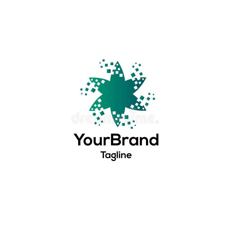 Kwiat z bajt ikony logo cyfrowym szablonem ilustracja wektor
