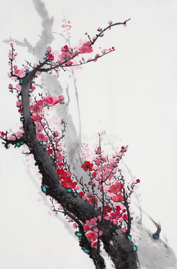 Kwiatonośna śliwki gałąź royalty ilustracja