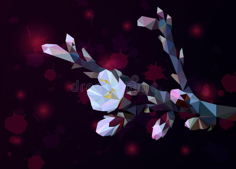 Kwiatonośna gałąź migdał z menchiami kwitnie od trójboków z punktami farba ilustracja wektor